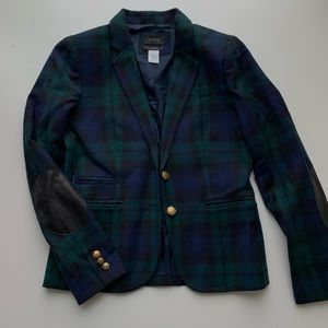 J.crew plaid blazer with gold buttons